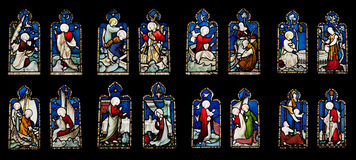 Religious stained glass windows Royalty Free Stock Photo