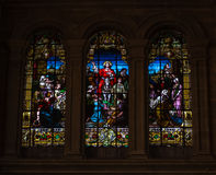 Religious stained glass windows Stock Images