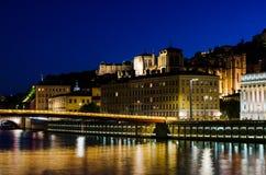 Night landscape , Lyon, France Royalty Free Stock Photography