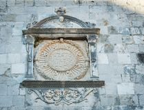 Religious statue on a building. In Dubrovnik Croatia Stock Photo