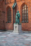 Religious Statue in front of Cathedral. In Ribe, Denmark Stock Photos