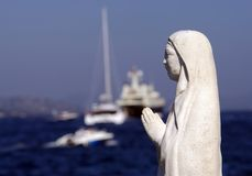 Religious statue in Saint Tropez. Mother of God statue in Saint Tropez, sea coast Royalty Free Stock Photography