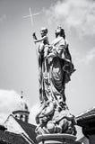 Religious statue, Sopron, Hungary, colorless. Religious statue, Sopron, Hungary. Religious architecture. Travel destination. Black and white photo stock photo