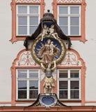 Religious statues decorating Renaissance facade of a house in La Stock Photos
