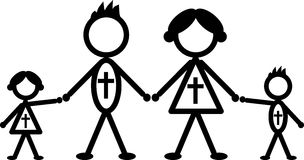 Religious stick family Stock Photography