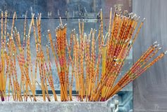 Religious sticks in the Buddhist temple royalty free stock photo