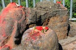 Religious stone sculpture Pokhara Nepal. Religious stone sculpture in Pokhara Nepal Royalty Free Stock Photography