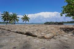 Religious structure marae Huahine French Polynesia Stock Photo