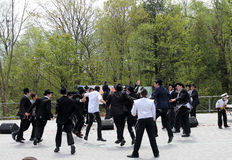 Religious Students Dancing. Religious Jewish students  dancing at the celebration of Lag BaOmer in May 18, 2014 in Toronto, Canada Stock Image