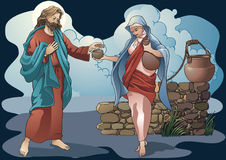 Religious subjects. Samaritan gives water to the Christ Royalty Free Stock Images