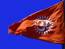 Religious symbol. A flag featuring the Hindu sacred word, om royalty free stock photos