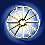 Golden Religious symbol - Buddhist Wheel Royalty Free Stock Images