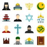 Religious symbol icons set, flat style Stock Image