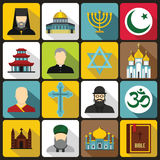 Religious symbol icons set, flat style. Religious symbol icons set in flat style. World religions and badges set collection vector illustration Stock Photography
