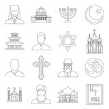 Religious symbol icons set, outline style. Religious symbol icons set in outline style. World religions and badges set collection vector illustration Royalty Free Stock Photography