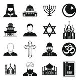 Religious symbol icons set, simple style. Religious symbol icons set in simple style. World religions and badges set collection vector illustration Royalty Free Stock Photography
