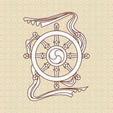 Religious symbol (vector). A religious symbol and background from Buddhism Stock Image