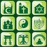 Religious symbols. Set of  icons of religious signs and symbols Royalty Free Stock Photography