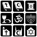 Religious symbols. Set of  icons of religious signs and symbols Royalty Free Stock Images