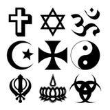 Religious symbols. Illustration of nine different Religious symbols Stock Photo