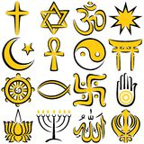 Religious Symbols. Set of 16 religious symbols, executed in line art. No transparency and gradients used Royalty Free Stock Photo