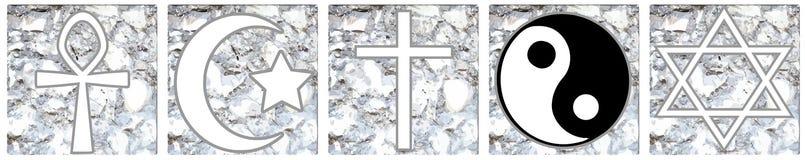 Religious symbols on background isolated Stock Photo