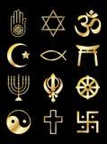 Religious symbols gold on black. A set of Religious symbols. Gold isolated on black Stock Images
