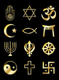 Religious Symbols Gold On Black Stock Images