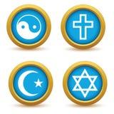 Religious symbols icon set Stock Images