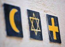 Religious symbols: islamic crescent, jewish David`s star, christian cross royalty free stock photography