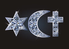 Religious symbols jewish David`s star, islamic crescent, christian cross. Vector illustration royalty free illustration