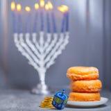 The Religious symbols of Jewish holiday Hanukkah stock photos