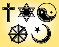 Religious symbols line icons set Royalty Free Stock Photography