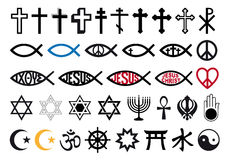 Religious symbols, religion signs, vector set Stock Photo
