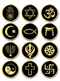 Religious symbols stickers gold on black. A set of stickers - Religious symbols. Gold isolated on black Royalty Free Stock Image