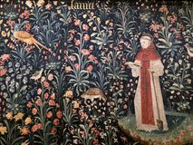 Religious tapestry in the Hospices de Beaune - Beaune - France Stock Photography