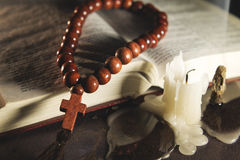 Religious theme holy book with a cross. Composition of religious theme holy book with a cross Stock Image