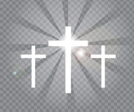 Religious three crosses with sun rays. Transparent background Stock Images