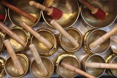 Religious tibetan bells. Tibetan bells in on the sale, religious buddist object Stock Images