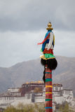 Religious Tibetan symbol with the Potala Palace, Lhasa Stock Images