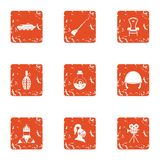 Religious warfare icons set, grunge style. Religious warfare icons set. Grunge set of 9 religious warfare vector icons for web isolated on white background Royalty Free Stock Images