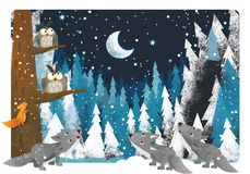 Religious winter scene with wolfs and owls near winter tree - traditional scene. Illustration for children stock illustration