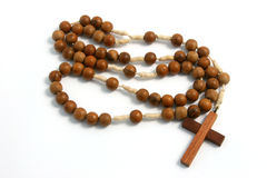 Religious Wood. A rosary made of wood Stock Photos