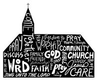 Religious word cloud art in shape of church, church bulletin design royalty free stock image