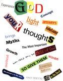 Religious Word Collage Texture Stock Image