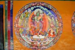 Religiös målning på Sera Monastery i Tibet Arkivfoto