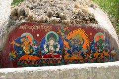 Religiös målning på Sera Monastery i Tibet Arkivbild