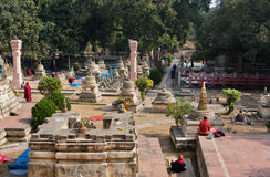 Religiuos people came to the yard of buddhist temple Royalty Free Stock Photos