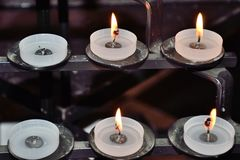 Religous candles on  inside of cathedral. Religous candles on  inside of english cathedral Royalty Free Stock Image