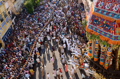 RELIGOUS CEREMONY AT SRIRANGAM. A religous hindu ceremony, which is performed yearly once at sri rangam devotes preforemed to pull charriot Stock Photos
